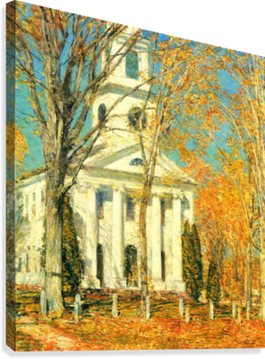 The Church of Old Lyme, Connecticut -2- by Hassam  Canvas Print